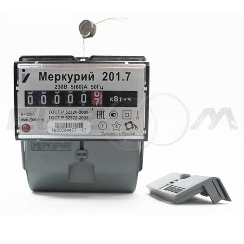 Счетчик однотарифный электрический Меркурий 201.7 230В 5(60) с отчетным устройством