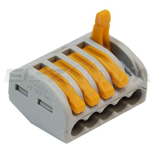Клемма соединительная универсальная 5 контактов WAGO 222-415 0.8-2.5 кв.мм. 32А