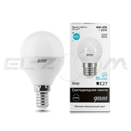 Лампа светодиодная ШАР Gauss 6Вт 4100K E14 220В матовое стекло