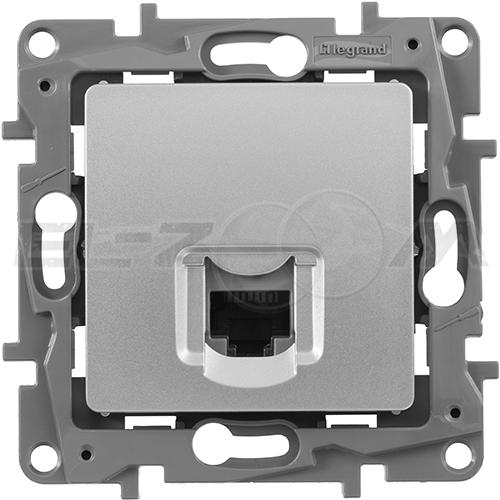 Розетка информационная RJ45 1 коннектор Legrand Etika серебро
