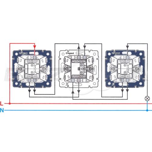 Переключатель 1-клавишный перекрестный Legrand Valena алюм 10АX