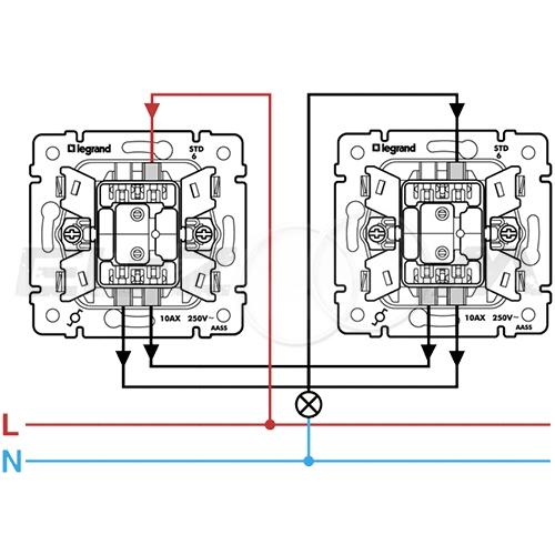 Выключатель 1-клавишный с подсветкой проходной Legrand Valena алюм 10АX
