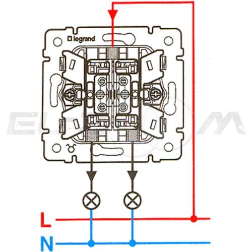 Выключатель 2-клавишный с подсветкой Legrand Valena алюм 10АX