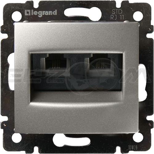 Розетка телефонная RJ-11 2 коннектора Legrand Valena алюм