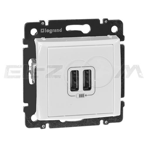 USB розетка (зарядка) 2-я Legrand Valena белая 2,4А 5В
