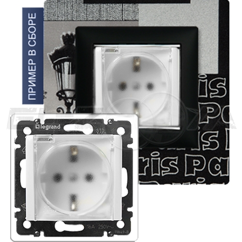 Розетка IP44 с заземлением и крышкой Legrand Valena белая 16А