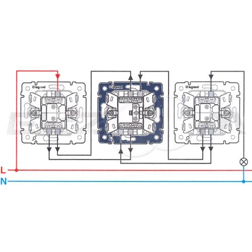 Переключатель 1-клавишный перекрестный Legrand Valena крем 10АX