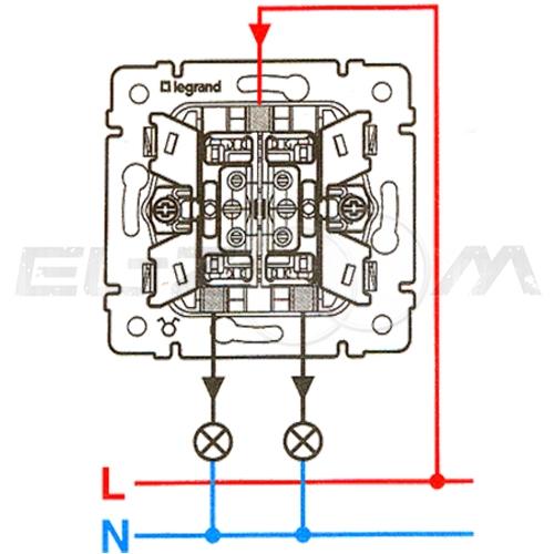 Выключатель 2-клавишный с подсветкой Legrand Valena крем 10АX