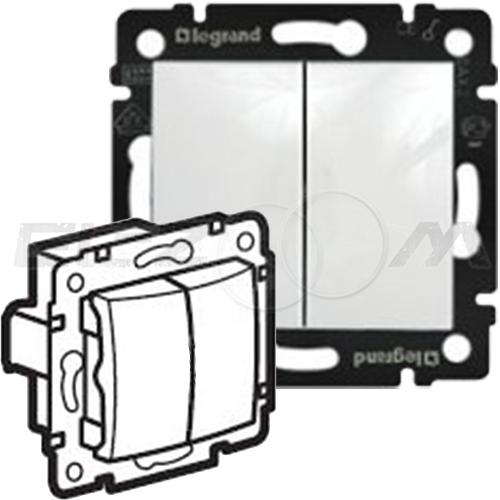 Выключатель 2-клавишный проходной Legrand Valena белый 10АX