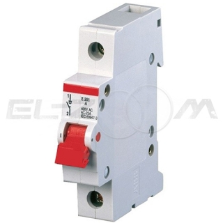 Рубильник модульный ABB E201r 1п 63А рычаг красный