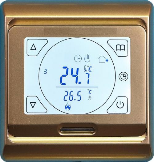 Терморегулятор электронный программируемый сенсорный для теплого пола E91.716 золото