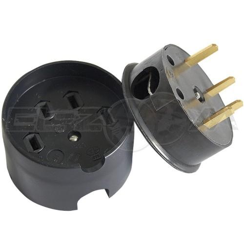 Разъем РШ-ВШ открытой установки, 32А, 380В, 3К+Н, пластик, черный