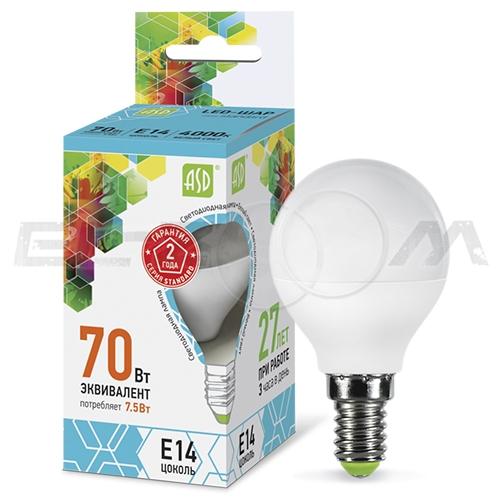 Лампа светодиодная ШАР ASD 7.5Вт 4000K E14 220В матовое стекло