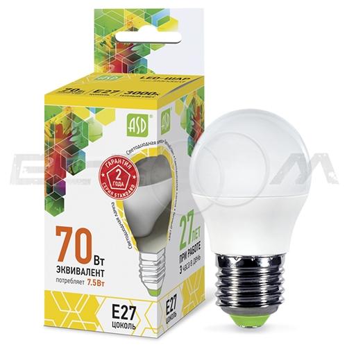 Лампа светодиодная ШАР ASD 7.5Вт 3000K E27 220В матовое стекло