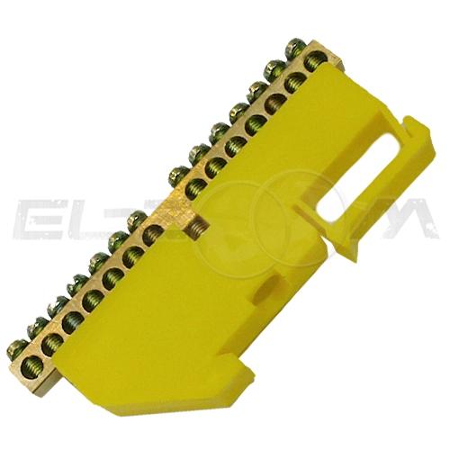 """Шина """"0"""" соединительная 14 контактов с изолятором на DIN-рейку"""