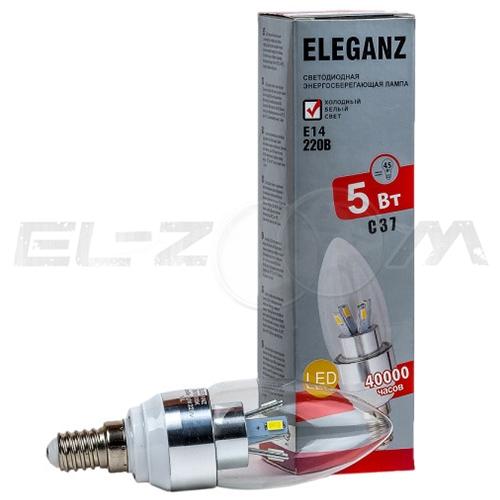 Лампа светодиодная СВЕЧА Eleganz 5Вт 3000K E14 220В прозрачное стекло