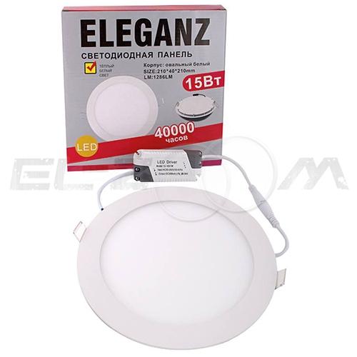 Светодиодная панель круглая Eleganz 15Вт 230В 3000К 1200Лм IP33