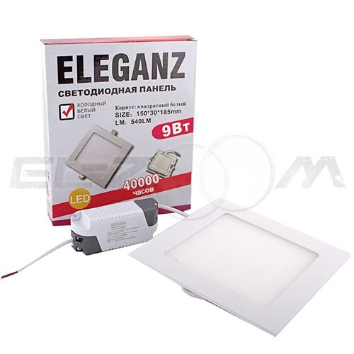 Светодиодная панель квадратная Eleganz 9Вт 230В 3000К 720Лм IP33