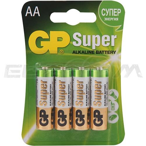 "Набор алкалиновых батареек GP Batteries ""Super Alkaline"", тип АА, 4 шт"