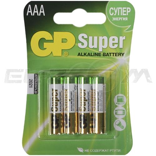 "Набор алкалиновых батареек GP Batteries ""Super Alkaline"", тип AАА, 4 шт"