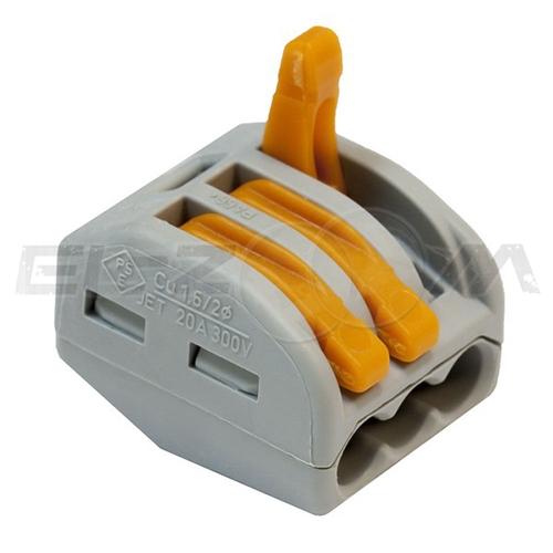 Клемма соединительная универсальная 3 контакта WAGO 222-413 0.8-2.5 кв.мм. 32А