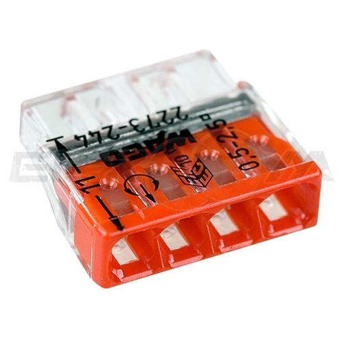 Клемма соединительная компактная 4 контакта WAGO 2273-244 0.5-2.5 кв.мм. 24А