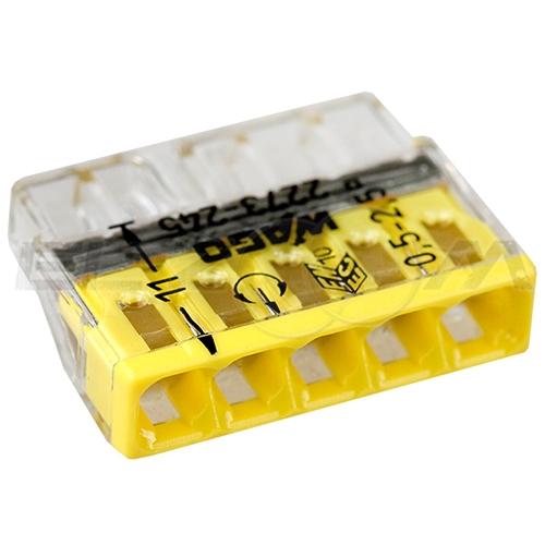 Клемма соединительная компактная 5 контактов WAGO 2273-245 0.5-2.5 кв.мм. 24А