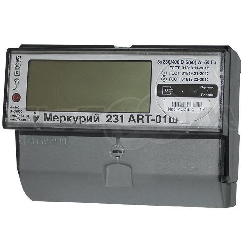 Счетчик 2 тарифа электрический Меркурий 231ART-01ш 400В 5(60) с ЖК-индикатором
