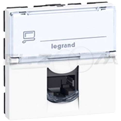 Розетка информационная RJ45 1 коннектор 2м. Legrand Mosaic белая