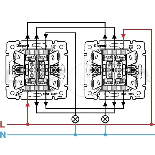 Выключатель 2-клавишный проходной с подсветкой Legrand Valena алюм 10АX