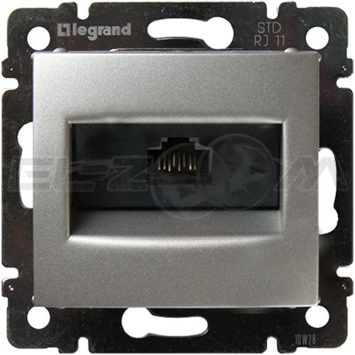 Розетка информационная RJ45 1 коннектор Legrand Valena алюм