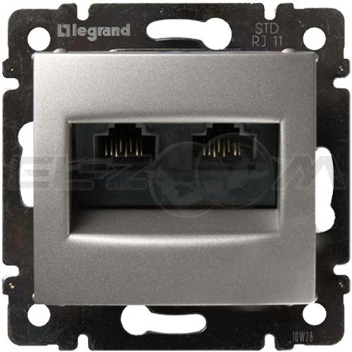 Розетка информационная RJ45 2 коннектора Legrand Valena алюм