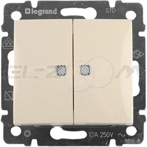 Выключатель 2-клавишный проходной с подсветкой Legrand Valena крем 10АX