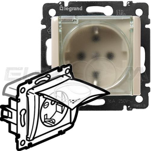 Розетка IP44 с заземлением и крышкой Legrand Valena крем 16А