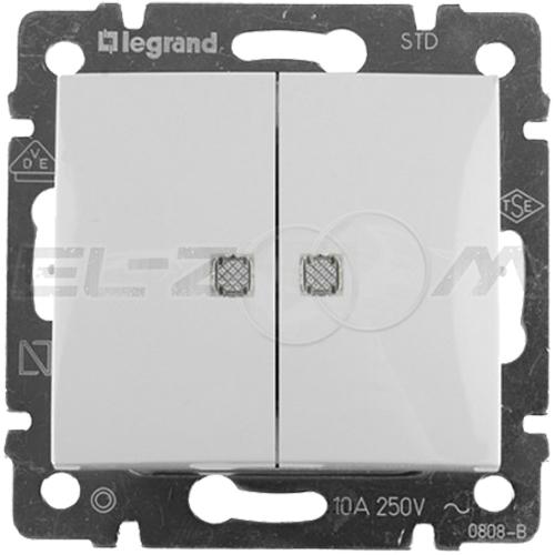 Выключатель 2-клавишный проходной с подсветкой Legrand Valena белый 10АX