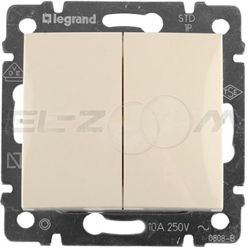 Выключатель 2-клавишный проходной Legrand Valena крем 10АX