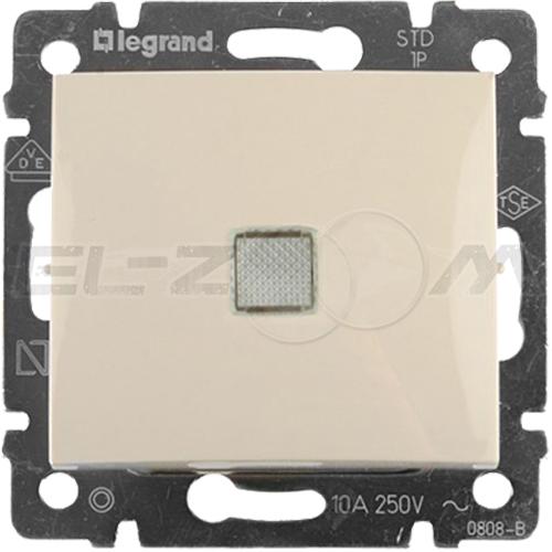 Выключатель 1-клавишный с подсветкой проходной Legrand Valena крем 10АX