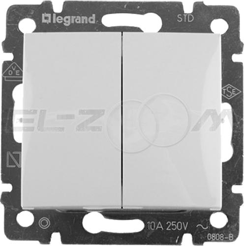 Выключатель 2-клавишный Legrand Valena белый 10АX