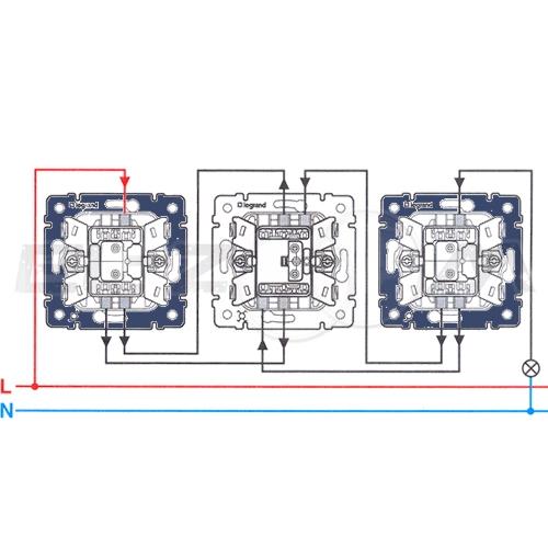 Переключатель 1-клавишный перекрестный Legrand Valena белый 10АX