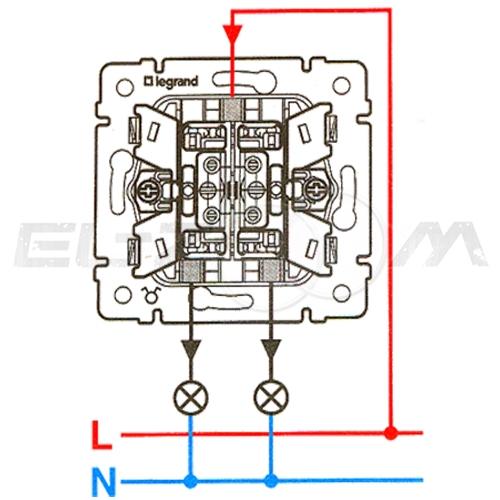 Выключатель 2-клавишный с подсветкой Legrand Valena белый 10АX