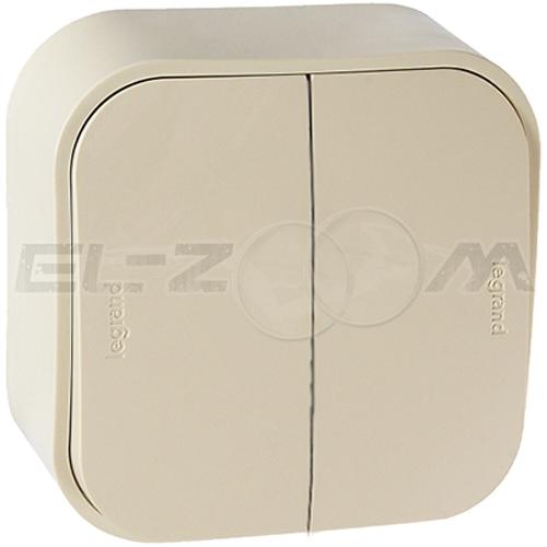 Выключатель 2-клавишный Legrand Quteo кремовый 10А