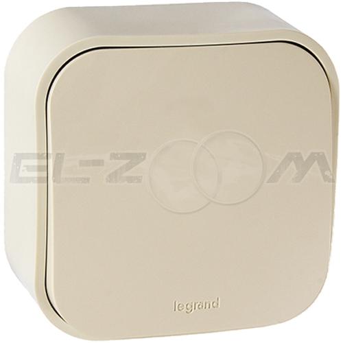 Выключатель 1-клавишный проходной Legrand Quteo кремовый 10А