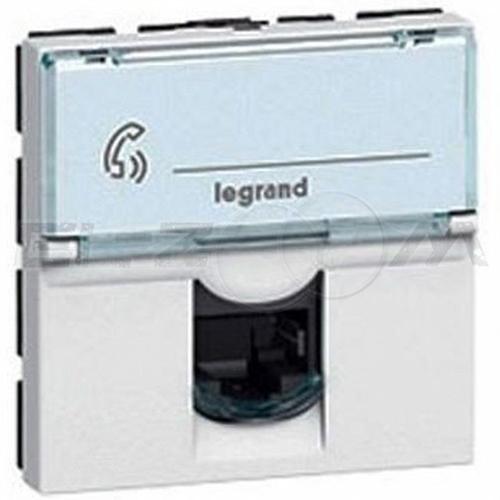 Розетка телефонная RJ-11 1 коннектор 2м. Legrand Mosaic белая