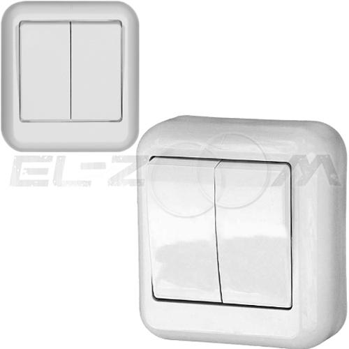 Выключатель 2-клавишный Schneider electric Прима белый 6А
