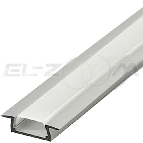 Встраиваемый алюминиевый профиль для светодиодной ленты плоский с рассеивателем