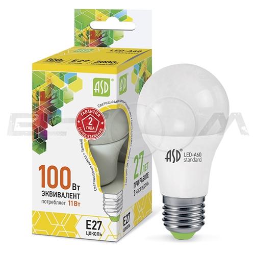 Лампа светодиодная A60 ГРУША ASD 11Вт 3000K E27 220В матовое стекло
