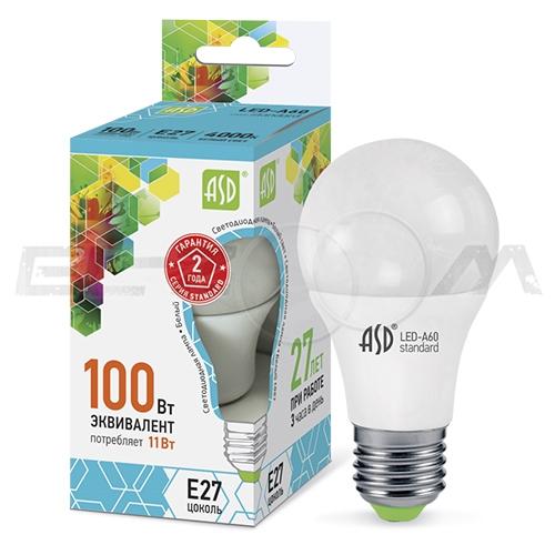 Лампа светодиодная A60 ГРУША ASD 11Вт 6000K E27 220В матовое стекло