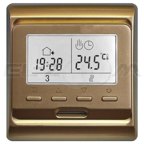Терморегулятор электронный программируемый для теплого пола E51.716 золото
