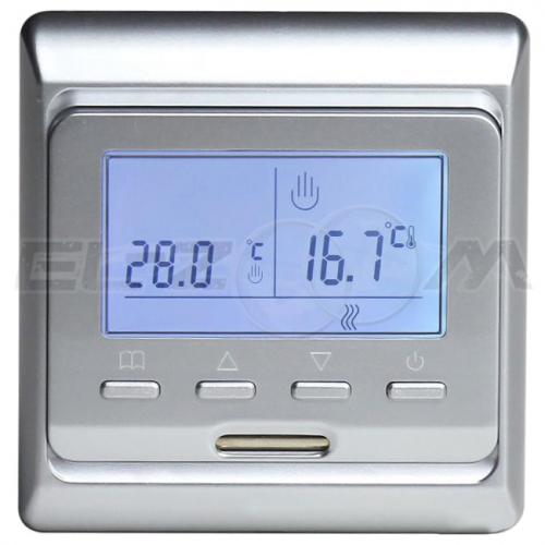 Терморегулятор электронный программируемый для теплого пола E51.716 серебро