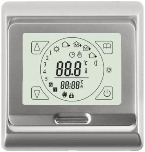 Терморегулятор электронный программируемый сенсорный для теплого пола E91.716 серебро